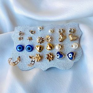 Fashion Earrings Dainty Gold Tone 12 Pair Set